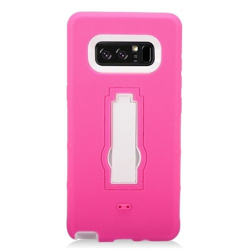 Insten For Samsung Galaxy Note 8 Hot Pink White Silicone Hard Hybrid Case Cover w/stand