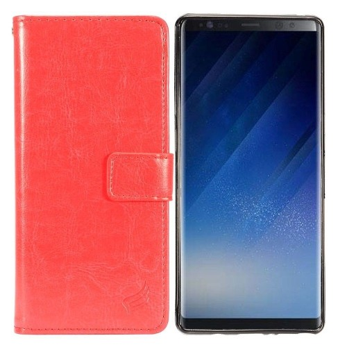 Insten For Samsung Galaxy Note 8 Red Detachable Magnetic Leather Fabric Case Cover