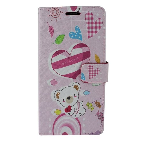 Insten For Samsung Galaxy Note 8 Multi-Color Hearts Leather Fabric Case w/stand