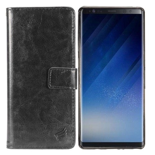Insten For Samsung Galaxy Note 8 Black Detachable Magnetic Leather Fabric Case Cover