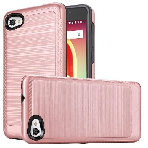 Insten For Alcatel A50/Pulsemix Rose Gold Hard TPU Hybrid Brushed Case Cover