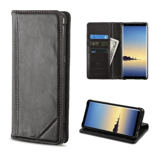 Insten For Samsung Galaxy Note 8 Black Genuine leather Case w/stand w/card slot