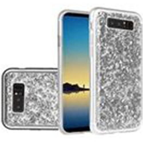 Insten For Samsung Galaxy Note 8 Silver Frozen Glitter Hard Hybrid Plastic Case
