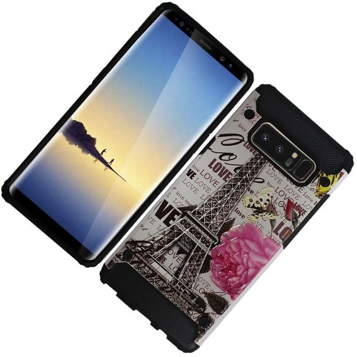 Insten For Samsung Galaxy Note 8 Multi-Color Eiffel Tower Hard TPU Hybrid Plastic Case