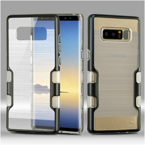 Insten For Samsung Galaxy Note 8 Clear Black Tuff Hard TPU Hybrid Brushed Case Cover