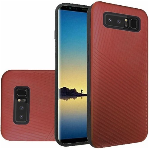 Insten For Samsung Galaxy Note 8 Red Embossed Lines Hard TPU Hybrid Plastic Case
