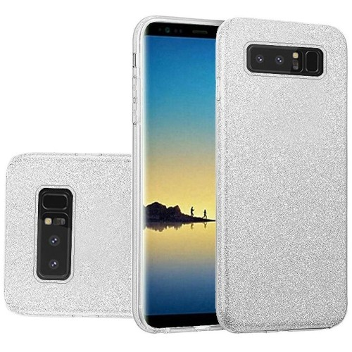 Insten For Samsung Galaxy Note 8 Silver Hard TPU Glitter Case Cover