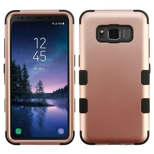 Insten For Samsung Galaxy S8 Active Rose Gold Black Tuff Hard TPU Hybrid Plastic Case