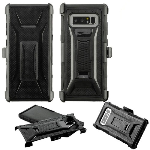 Insten For Samsung Galaxy Note 8 Black Advanced Armor Hard Hybrid Case w/stand Holster