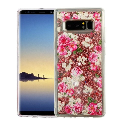 Insten For Samsung Galaxy Note 8 Pink Roses Quicksand Glitter Hard TPU Hybrid Case