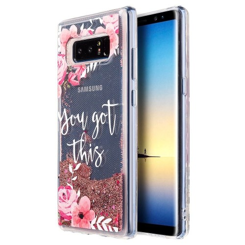 Insten For Samsung Galaxy Note 8 Multi-Color Flowers Waterfall Liquid TPU Case Cover