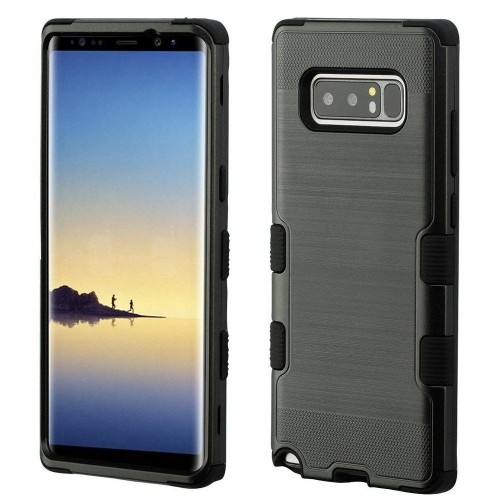 Insten For Samsung Galaxy Note 8 Black Tuff Hard TPU Hybrid Brushed Case Cover