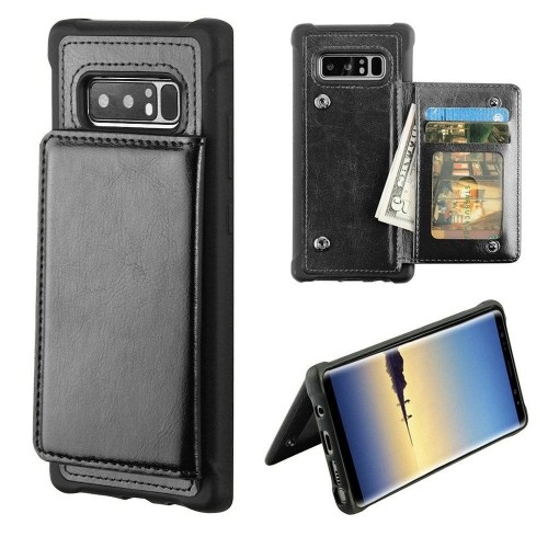Insten For Samsung Galaxy Note 8 Black Executive Protector Leather Case Cover w/stand