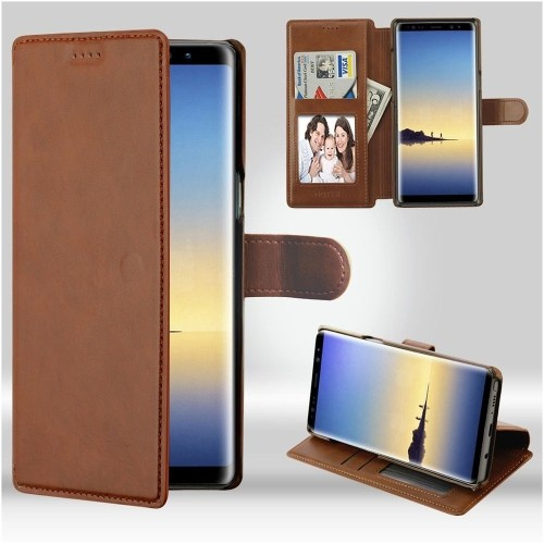 Insten For Samsung Galaxy Note 8 Brown Neon Urban Plus Leather Case Cover w/stand