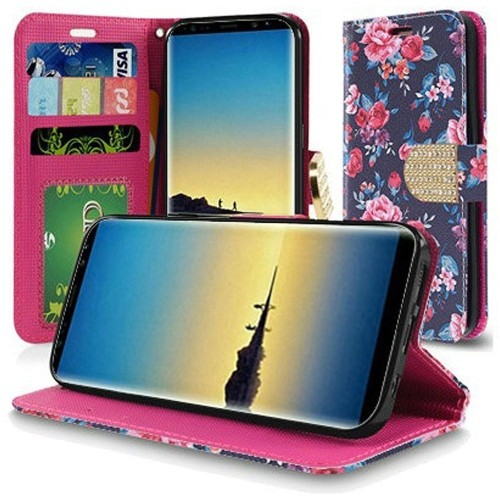 Insten For Samsung Galaxy Note 8 Multi-Color Tropical Flowers Leather Case w/stand