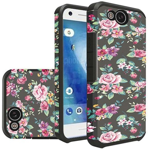 Insten For Google Pixel 2 Multi-Color Tropical Flowers Hard TPU Hybrid Case