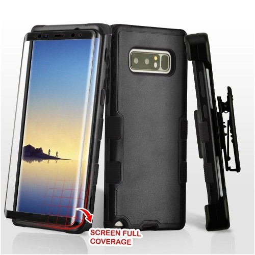 Insten For Samsung Galaxy Note 8 Black Hard TPU Hybrid Plastic Case Holster
