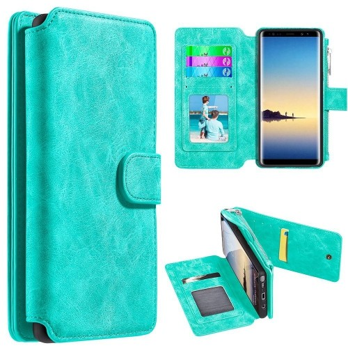 Insten For Samsung Galaxy Note 8 Teal Detachable Magnetic Leather Fabric Case Cover