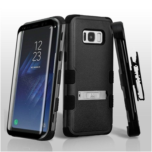 Insten For Samsung Galaxy S8 Black Tuff Hard TPU Hybrid Plastic Case Cover Holster