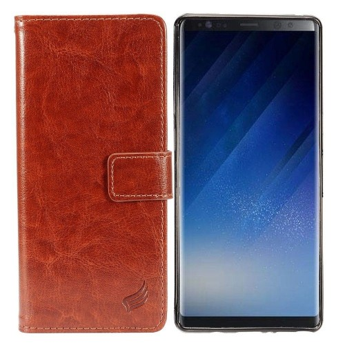 Insten For Samsung Galaxy Note 8 Brown Detachable Magnetic Leather Fabric Case