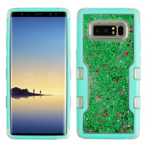Insten For Samsung Galaxy Note 8 Teal Sparkles Liquid Flowing Hard Hybrid Case Cover