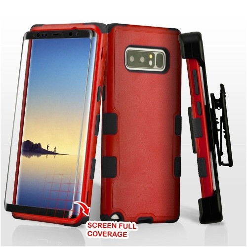Insten For Samsung Galaxy Note 8 Red Black Hard TPU Hybrid Plastic Case Holster
