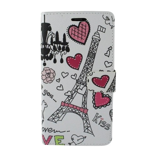 Insten For Samsung Galaxy Note 8 White Heart Tower Leather Fabric Case Cover w/stand
