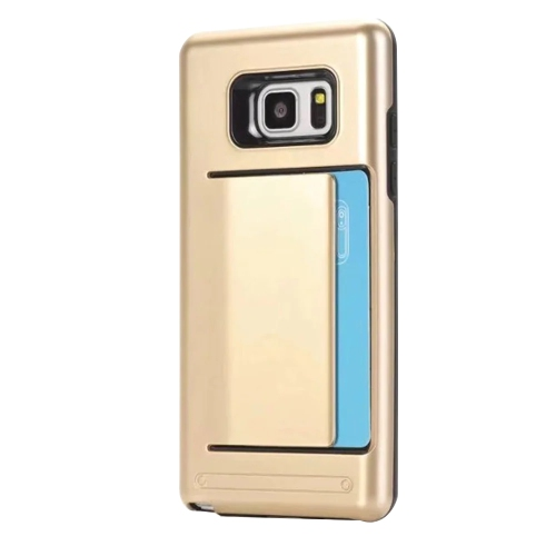 Samsung Galaxy Note 8 double couche pare-chocs de protection Hard Shell Wallet porte-cartes coulissante cas - or