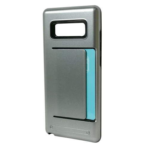 Samsung Galaxy Note 8 Dual Layer Bumper Protective Hard Shell Wallet Sliding Card Holder Case - Gray