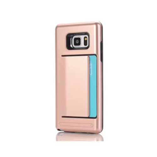 Samsung Galaxy Note 8 Dual Layer Bumper Protective Hard Shell Wallet Sliding Card Holder Case - Rose Gold