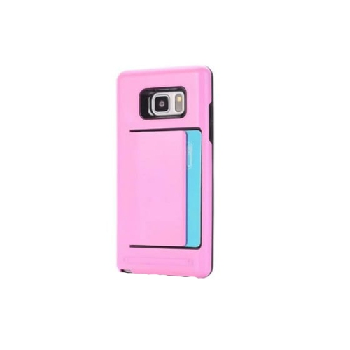 Samsung Galaxy Note 8 Dual Layer Bumper Protective Hard Shell Wallet Sliding Card Holder Case - Pink