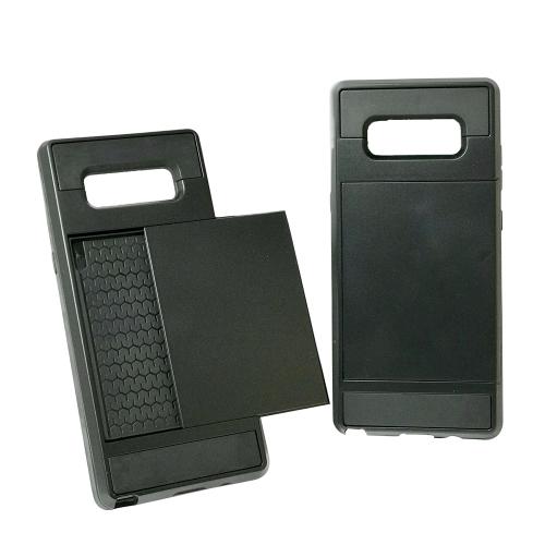 Samsung Galaxy Note 8 Hybrid double couche antichoc couverture arrière Wallet titulaire de la carte - Noir