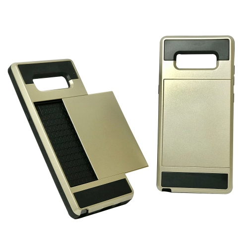 Samsung Galaxy Note 8 Hybrid Dual Layer Shockproof Back Cover Wallet Card Holder Case - Gold