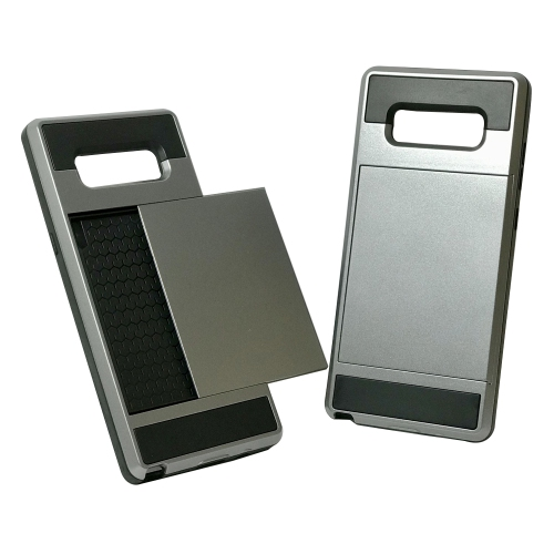 Samsung Galaxy Note 8 Hybrid Dual Layer Shockproof Back Cover Wallet Card Holder Case - Gray