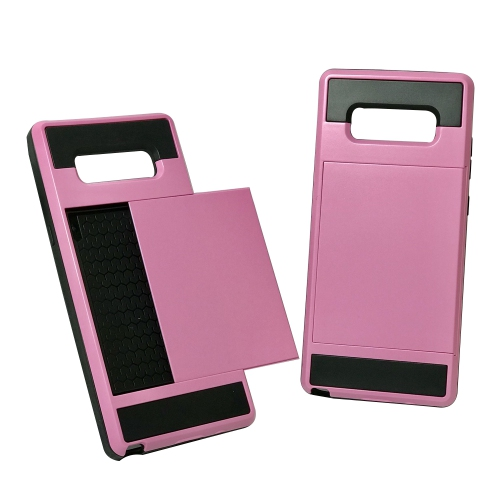 Samsung Galaxy Note 8 Hybrid Dual Layer Shockproof Back Cover Wallet Card Holder Case - Pink