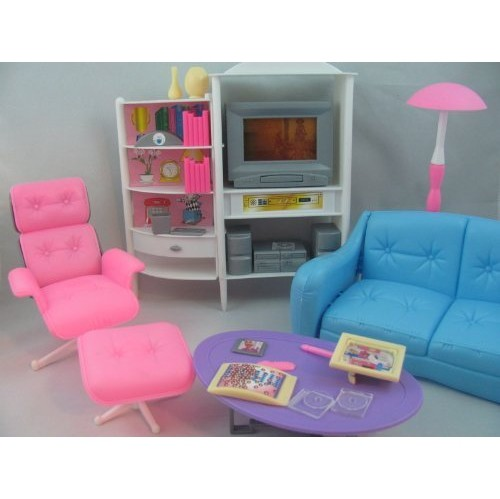 Generic Barbie Size Dollhouse Furniture Family Room Tv Couch Ottoman