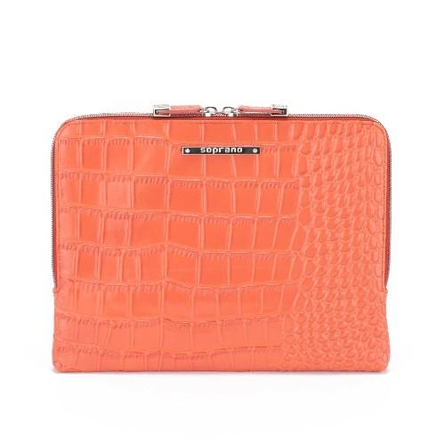 Soprano Handbags Iris Croc-Embossed Leather iPad / Tablet Sleeve - Orange