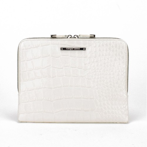 Soprano Handbags Iris Croc-Embossed Leather iPad / Tablet Sleeve - White