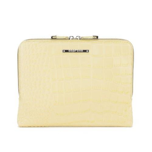 Soprano Handbags Iris Croc-Embossed Leather iPad / Tablet Sleeve - Yellow