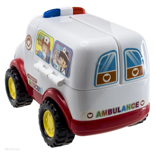 Wolvol Educational Ambulance Activity Toy With Medical Equipment, Realistic  Sound Effects And Lights, Bump And Go Action