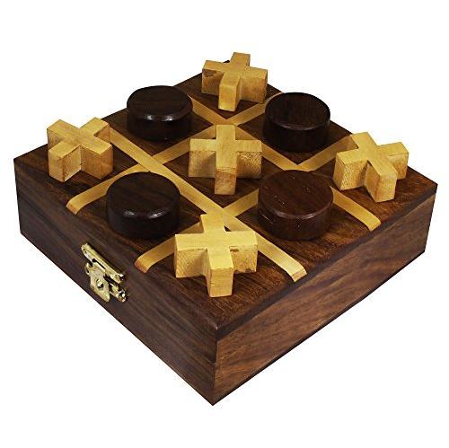 Wooden Tic Tac Toe With Storage Travel Box Set Handmade Wood