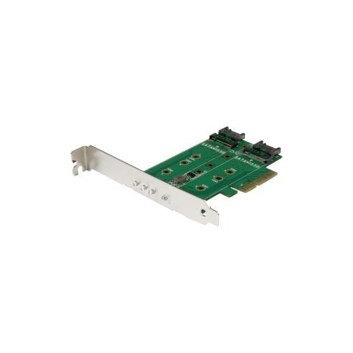 STARTECH MOUNT BOTH PCIE (NVME) AND SATA BASED M.2 SSDS INSIDE YOUR COMPUTER USING THIS PCI EXPRESS ADAPTER CARD 3-PORT
