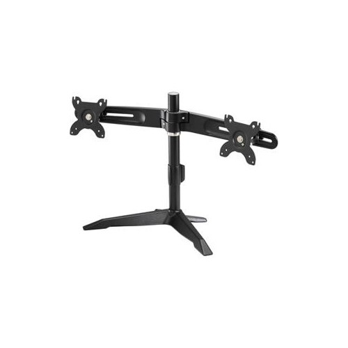 AMER NETWORKS DUAL MONITOR LCD/LED MONITOR STAND. SUPPORTS VESA MOUNTING FOR 75MM AND 100MM SPACING. STURDY CAST ALUMINI
