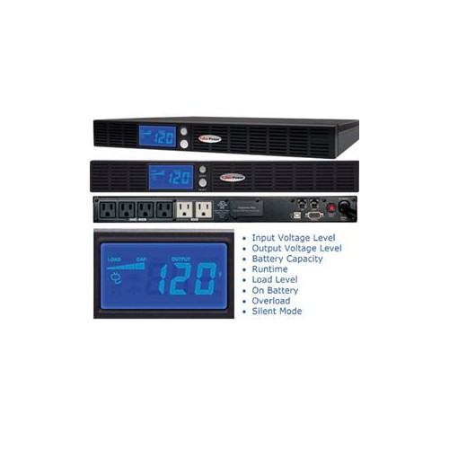 CYBERPOWER SMART APP INTELLIGENT LCD RACKMOUNT GREENPOWER UPS OR500LCDRM1U 500VA 300W 4 X 5-15R BATTERY/SURGE PROTECTED