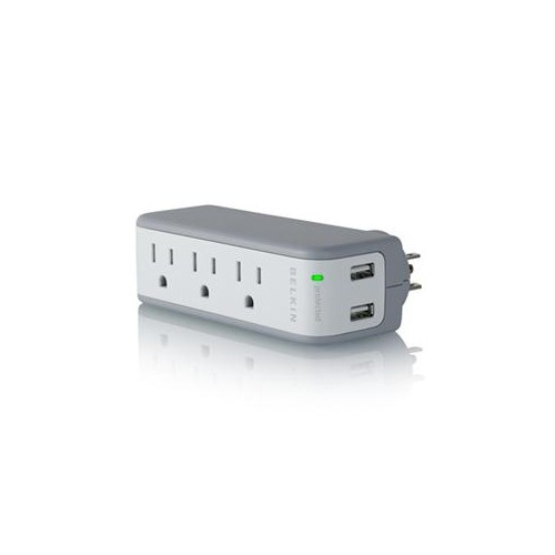 BELKIN BZ103050-TVL WALL MOUNT 3 OUTLETS 918 JOULES MINI SURGE PROTECTOR WITH 2 USB CHARGER WALL MOUNT