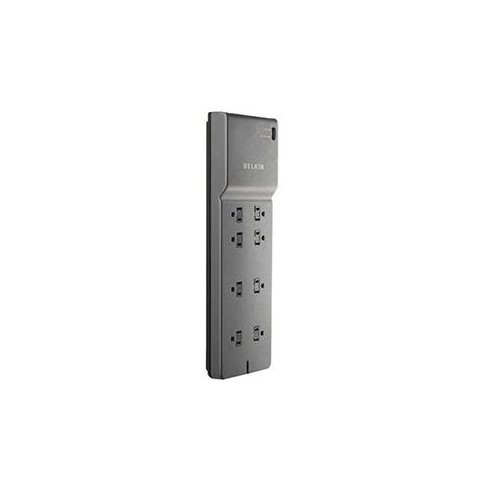BELKIN 8-OUTLET POWER STRIP SURGE PROTECTOR WITH 6-FOOT POWER CORD AND TELEPHONE PROTECTION, BE108200-06