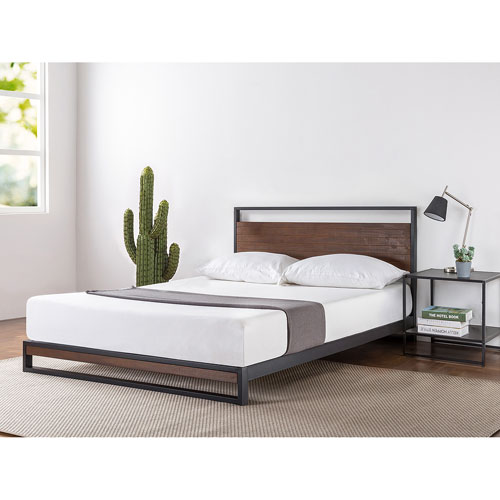 dp leather headboard footboard support black faux slat with amazon upholstered com bed ac tufted dhp dakota wooden and platform
