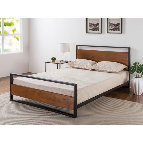 Zinus Ironline Contemporary Platform Bed Queen Black