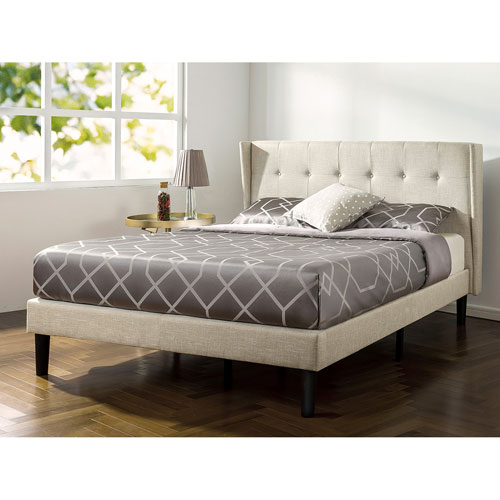 quality design e0c3e 975a1 Zinus Contemporary Upholstered Platform Bed - King - White