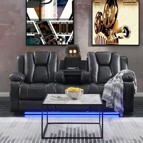 Starship Genuine Leather Power Reclining Sofa Charcoal Home